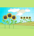 with sunflowers vector image