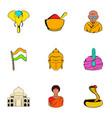 india icons set cartoon style vector image