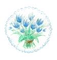 Watercolor bouquet of blue tulips vector image
