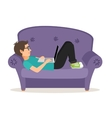 Gamer man lying on sofa with laptop vector image vector image