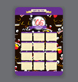 halloween ghost face background Calendar 2016 year vector image