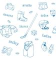 seamless pattern ice-hockey equipment sport icon vector image