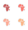 Set of paper stickers on white background Africa vector image