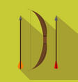 archery retro set hunting season flat and vector image