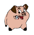 cute pig animal farm domestic nature image vector image