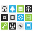 Black Simple Security and Business icons vector image