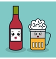 cartoon bottle ketchup with glass beer facial vector image