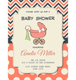Beautiful baby girl shower card with stroller vector image