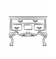 Classic table furniture with royal ornaments vector image