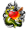 dragon and heart tattoo vector image