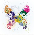 colorful beautiful butterfly on white background vector image vector image