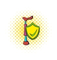 Crutch and shield with tick icon comics style vector image vector image
