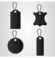 Four black leather VIP tag with gold thread hang vector image
