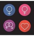 Gender symbols flat linear long shadow icons set vector image
