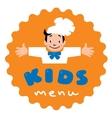 Kids Menu logo with funny cook boy vector image