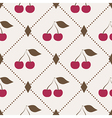 Seamless pattern with cherries and polka dot rhomb vector image
