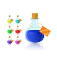 colorful flask icon set with cork and tag vector image vector image