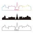 Vaduz skyline linear style with rainbow vector image