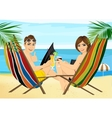 couple sitting in deckchairs on the beach toasting vector image
