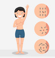 breast cancer self check and breast massage vector image
