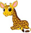 Cartoon funny giraffe sitting isolated vector image