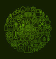 ecology line icon circle concept vector image