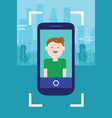man photo face on camera screen mobile smart-phone vector image