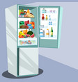 refrigerator full of tasty food vector image
