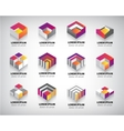 set of colorful geometric 3d cube vector image