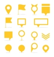 Set of yellow isolated pointers and markers vector image