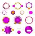 Set of sale badges labels and stickers in purple vector image