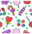 candy food doodles vector image