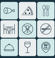 set of 9 food icons includes cutlery dining room vector image