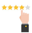 pointing hand and five review stars vector image