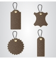 Four brown leather VIP tag with gold thread hang vector image