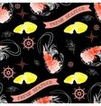 Shrimp lemon helm words Fresh Seafood vector image