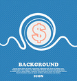 Dollar sign icon Blue and white abstract vector image