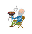 happy smiling grandpa grilling barbecue while vector image