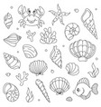 lineart cartoon comic doodle sea animals vector image