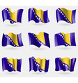 Set of Bosnia and Herzegovina flags in the air vector image