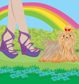 walk the dog in the park vector image