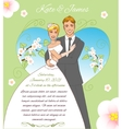 Young couple on the spring background eps10 vector image