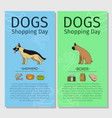 shepherd and boxer dog shopping day vector image vector image