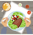 grilled steak and glass of beer vector image