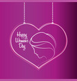 happy womens day purple heart hang vector image