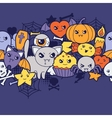 Seamless halloween kawaii pattern with cute vector image