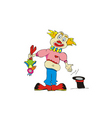 clown with a parrot vector image vector image