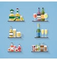 Booze or drinks flat icons on tray at bar vector image