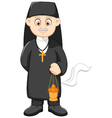 Cartoon catholic priest vector image