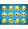Cute cartoon sun character emotions vector image